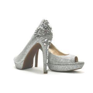 Gianni Bini Silver Glitter Jeweled Heels